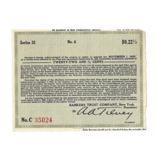 Купон 22,5 цента США Нью-Йорк 1922, 1925, 1928. № 35024