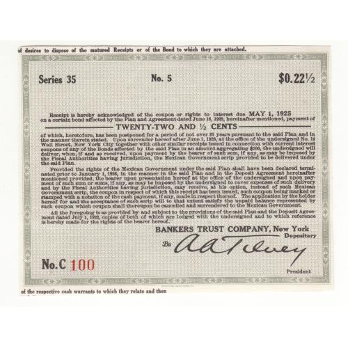 Купон 22,5 цента США Нью-Йорк 1922 - 1928 №100