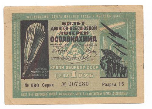 Лотерея ОСОАВИАХИМ 1 рубль 1934, 9-я