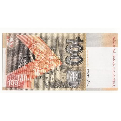 Официальный буклет образец с описанием защиты 100 крон 1993 Словакия большой формат