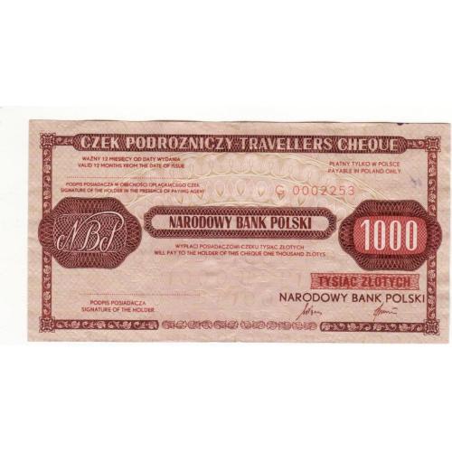 Польша 1000 злотых дорожный чек погашен 1989 редкий
