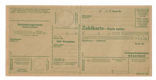 Польша немецкая оккупация 2-я мировая. Чек, бланк перевода на почтовый счет.