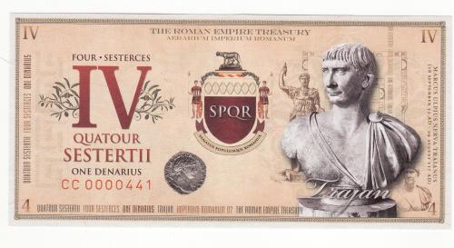 Римская империя 4 сестерция UNC вод. знаки УФ-нити, император Траян