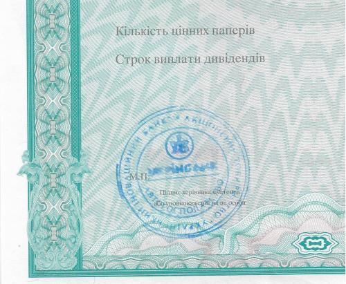 Сертификат акций со штампом Автогосподарство УкрИнбанк бланк 2002