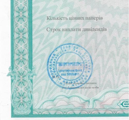 Сертификат акций со штампом Енергоресурс Бородянка Киевская обл. бланк 2002