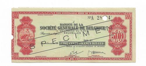Specimen образец дорожный чек 500 франков Бельгия