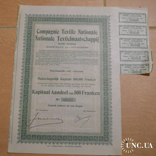 Акция. Compagnie Textile Nationale. Бельгия. 1921 год №0000853 (1.44)
