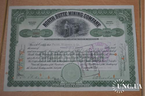 Акция.North Butte Mining Company . США. 1910 год №55857 (1.8)
