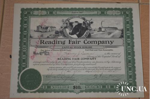 Акция. Reading Fair Compani. США. 1915 год №189 (1.2)
