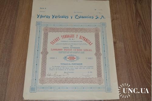 Акция. Ygurey Yerbales y Estancias S. A. 1926 год №805 (31) 38*30