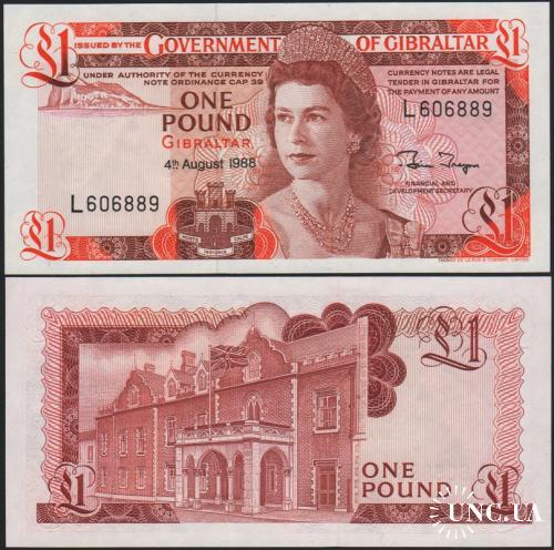 Gibraltar Гибралтар - 1 Pound 1988 UNC