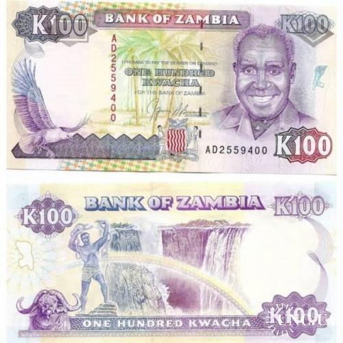 ЗАМБИЯ 100 квача 1991 год UNC