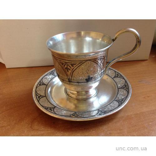 КУБАЧИ чашка + плюдце серебро 875 пр 160 г