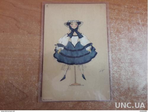 Старинная открытка Балет Фея Кукол Лев  Бакст Кукла №7 В пользу общины Св. Евгении