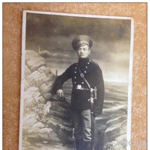 Старинная открытка Молодой военный у камней Фото. Первая мировая война