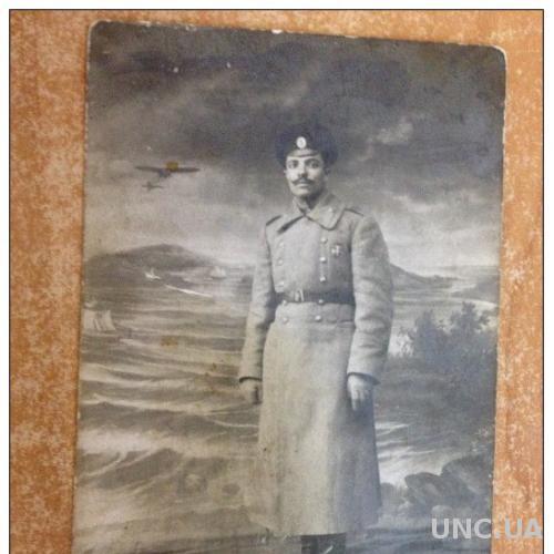 Старинное фото военного в зимней форме Шинель Первая мировая война