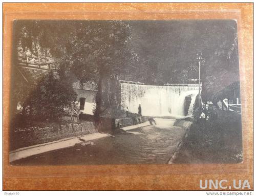 Открытка старинная Ново-Аеонский Монастырь на Кавказе Водопад