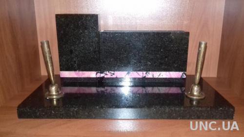 Подарочный кабинетный письменный набор из черного мрамора-три предмета.1979г.ссср.