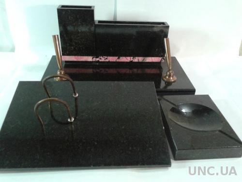 Подарочный мужской письменный набор для кабинета из натурального черного мрамора.1978-79гг.СССР.