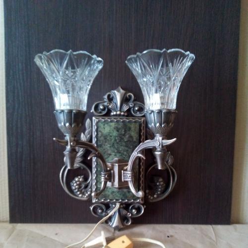 бра настенное  _бронзовый декор, малахит, хрусталь.