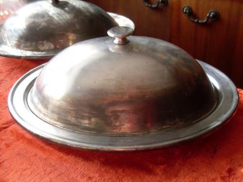 Клош большой овальный 33 см Кольчугино /Баранчик/блюдо с колпаком/тарелка с крышкой. Мельхиор
