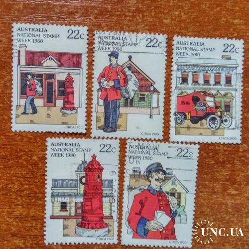 Австралия 1980  неделя почтовой марки почтальон автомобили  ГАШ