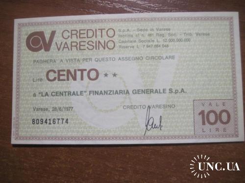 Италия 1977 чек на 100 лир UNC