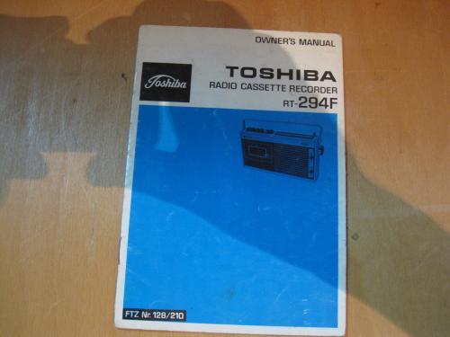 Toshiba RT-294F Radio cassette recorder Инструкция по эксплуатации (Owner's manual)