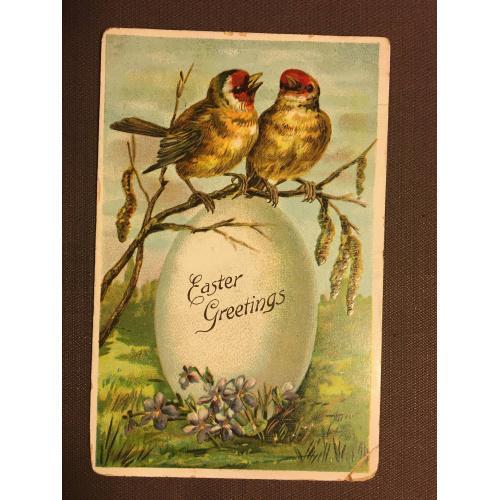 Старинная пасхальная открытка ПТИЦЫ