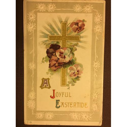 Старинная пасхальная открытка КРЕСТ ЦВЕТЫ