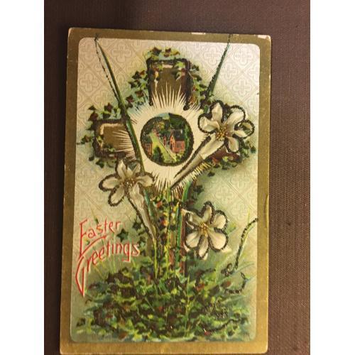 Старинная пасхальная открытка КРЕСТ ЛИЛИЯ
