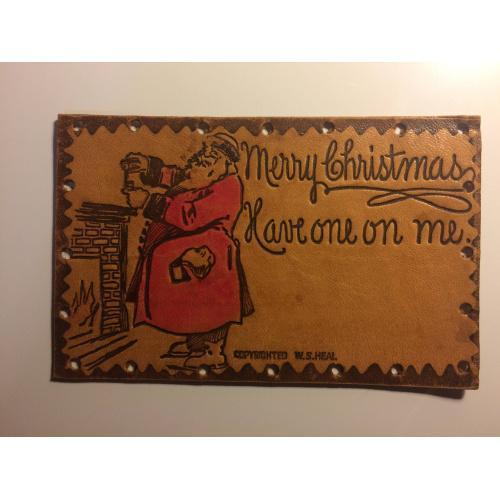 Старинная рождественская  кожаная открытка, открытка из кожи