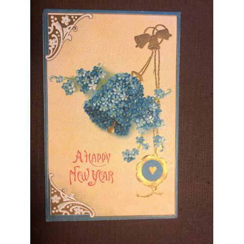 """Новогодняя старинная открытка """"Колокольчик, цветы"""""""