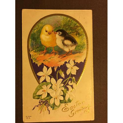 Старинная пасхальная открытка  ЦЫПЛЯТА ЦВЕТЫ