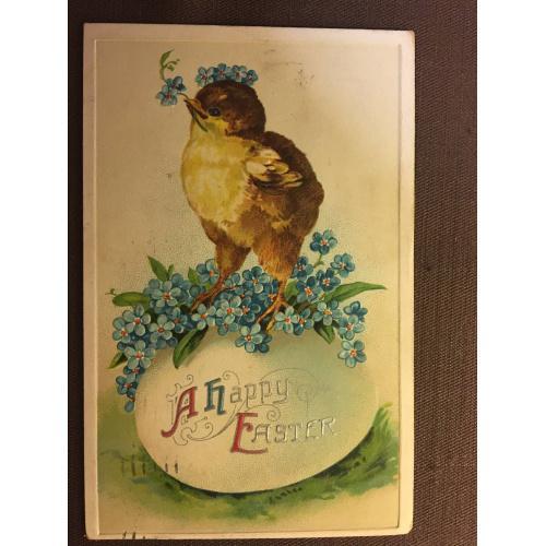Старинная пасхальная открытка ЦЫПЛЕНОК