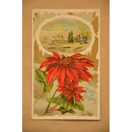 """Американская рождественская открытка """"Цветы"""""""