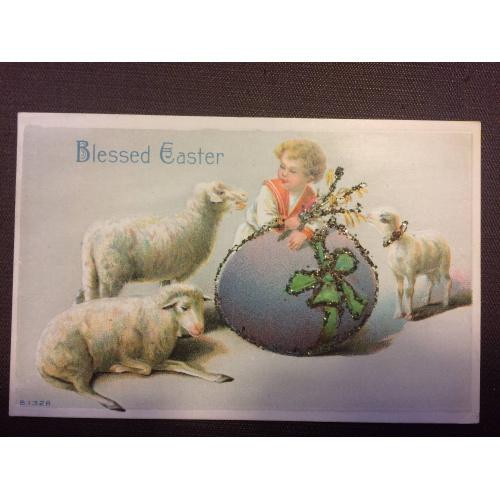"""Старинная пасхальная открытка  """"Мальчик, овцы"""""""