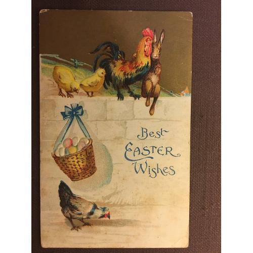 Старинная пасхальная открытка ПЕТУХ КРОЛИК ЦЫПЛЯТА КУРИЦА КОРЗИНА