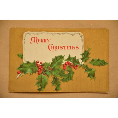 """Золотая тисненая открытка """"Merry Christmas"""""""