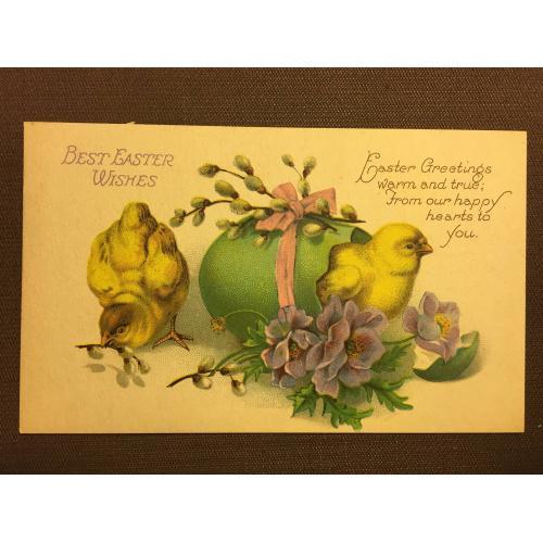 Старинные пасхальные открытки из одной серии ЦЫПЛЯТА 2 шт.