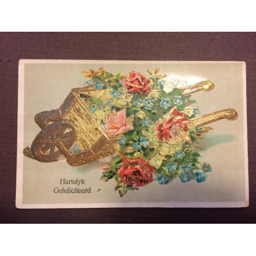 """Старинная открытка  """" Тачка с цветами, цветы"""""""