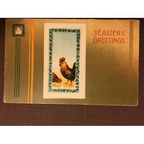 Старинная пасхальная открытка КУРИЦА ПЕТУХ
