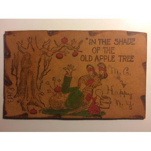 Старинная кожаная открытка