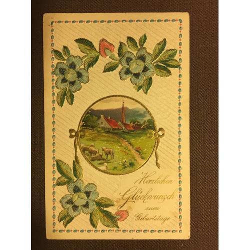 Старинная открытка ЦВЕТЫ ДОМ ОВЦЫ