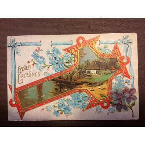 "Старинная пасхальная открытка  ""Крест, цветы"""