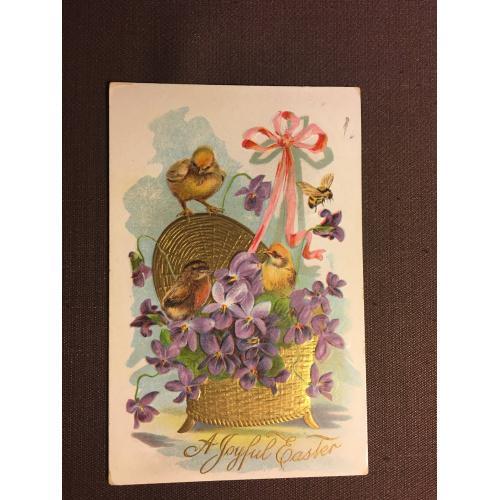 Старинная пасхальная открытка  ЦЫПЛЯТА ЦВЕТЫ КОРЗИНА