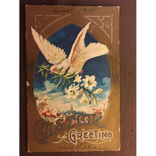 Старинная пасхальная открытка ГОЛУБЬ