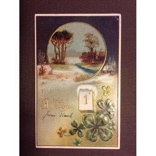 """Новогодняя старинная открытка """"1 января, клевер"""""""