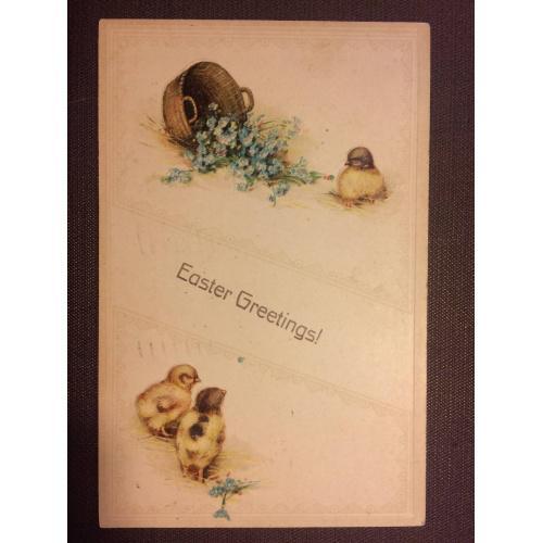 """Старинная пасхальная открытка """"Цыплята"""""""