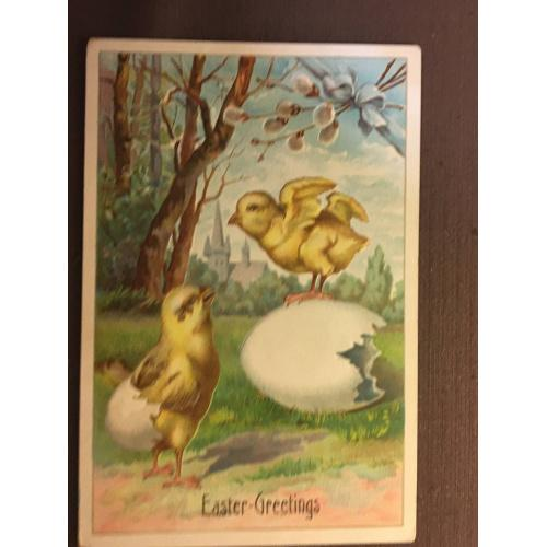 Старинная пасхальная открытка ЦЫПЛЯТА